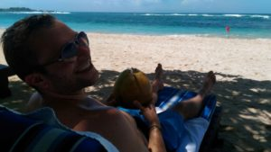 Coconut at the beach, yeah baby!