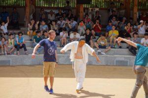 Joining the famous mask dance (Byeolsingut Talnori) in Hahoe Folk Village